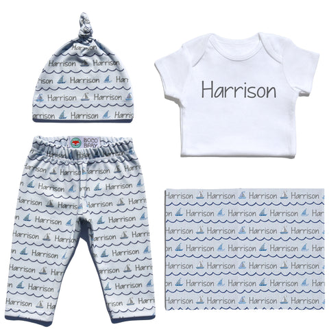 Welcome Baby Set - Sailboats
