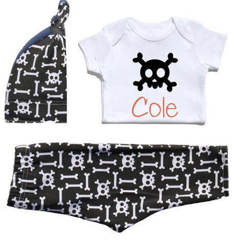 Skull & Bones Outfit with Personalized Onesie (NB - 6 month)