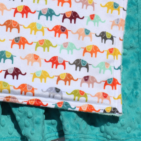 Ready To Ship - Elephant Parade Blanket With Laguna Minky