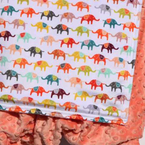 Ready To Ship - Elephant Parade Blanket With Peachy Minky