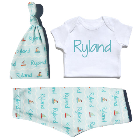 Outfit - Teal Sailboats