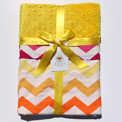 Ready To Ship - Summertime Sunset Chevron With Yellow Minky