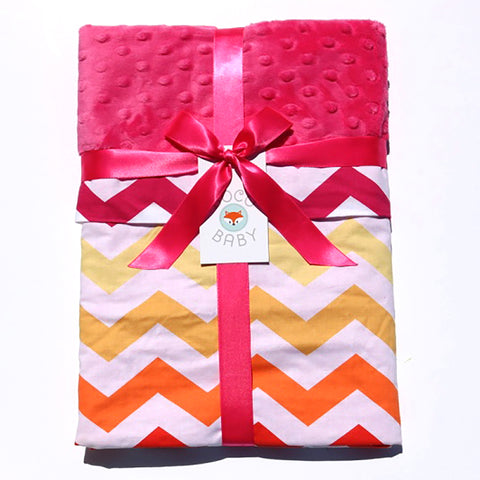 Ready To Ship - Summertime Sunset Chevron Baby Blanket With Pink Minky