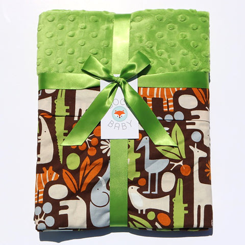 Ready To Ship - Modern Jungle Print With Green Minky