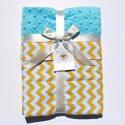 Ready To Ship - Yellow Chevron With Blue Minky