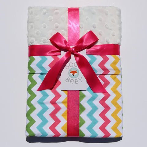Ready To Ship - Spring Chevron Baby Blanket With Ivory Minky