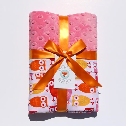 Ready To Ship - Sunset Owls With Pink Minky
