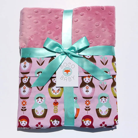 Ready To Ship - Matryoshka Dolls With Pink Minky