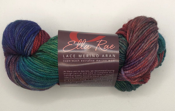 Ella Rae Lace Merino Aran #1009 - Berry Jam-Parsley