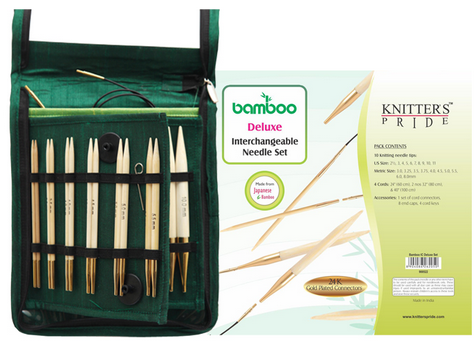Knitters Pride Bamboo Deluxe Interchangeable Needle Set