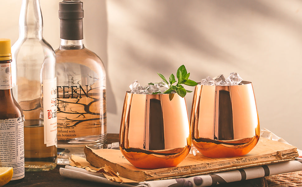 Copper Stemless Wine Glasses by FLOW Barware