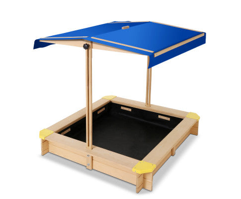 WOODEN OUTDOOR SANDPIT BOX WITH CANOPY