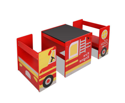 KEEZI KIDS FIRETRUCK TABLE & CHAIR SET