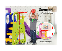 Load image into Gallery viewer, KEEZI KIDS 7 IN 1 SLIDE SWING BASKETBALL SET