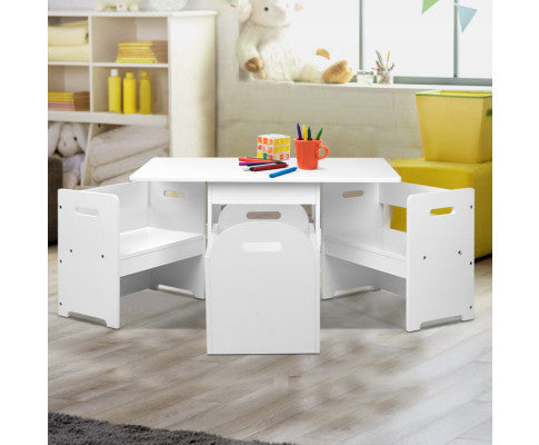 KEEZI KIDS TABLE & CHAIRS SET WITH STORAGE