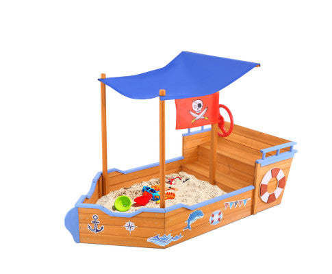 KEEZI KIDS BOAT SAND PIT WITH CANOPY