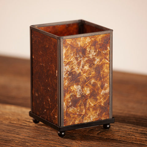 Amber Mica Panel Lamp - Large