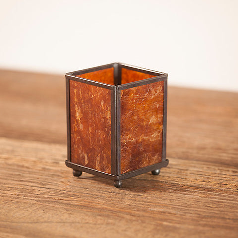 Amber Mica Panel Lamp - Small