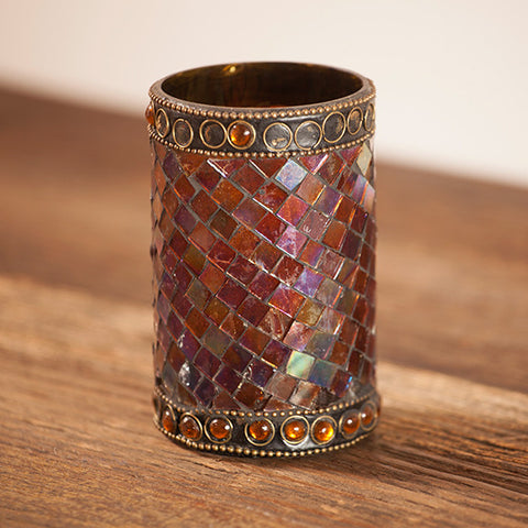 Beaded Mosaic Lamp-Amber