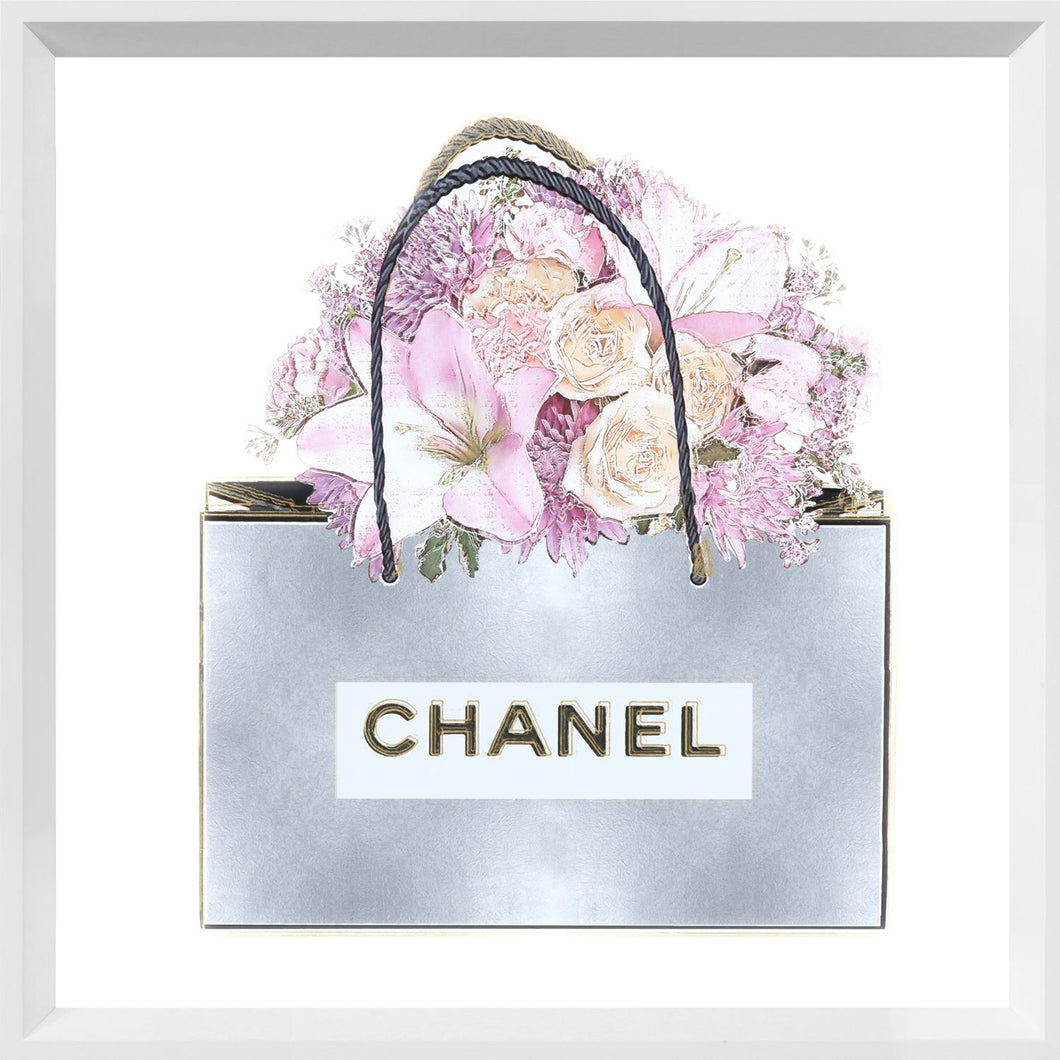 Pink Floral Bouquet - Silver Bag
