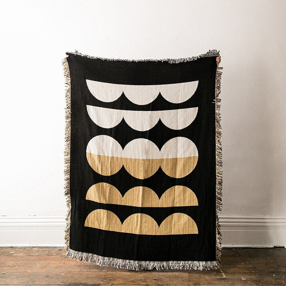 ABSTRACT MOON PHASES THROW BLANKET