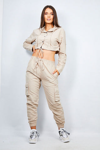 Beige Crop Shirt & Cargo Trouser Lounge Set