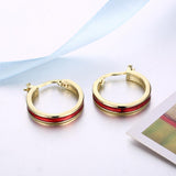 Red Hoop Earring in 18K Gold Plated