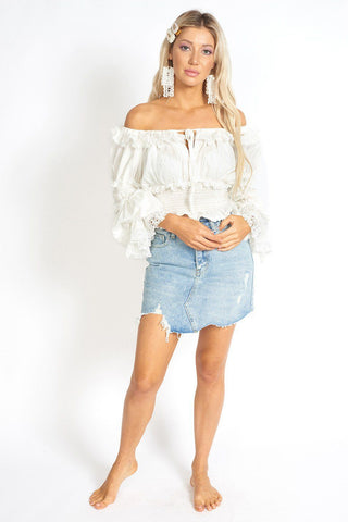 Amalia Ripped Denim Mini Skort