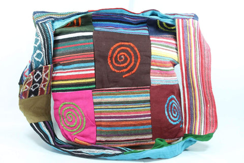 Patchwork Multi Spiral Durrie Jhola Bag Shopping Tote