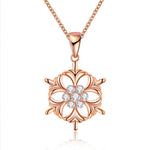 Frozen Snowflake Necklace in 18K Rose Gold Plated - Christmas