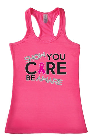 Women's Show you Care Be Aware Breast Cancer Racerback TANK TOP PINK