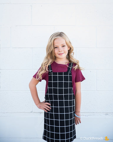 Little Girls Grid Overall Dress with Front Pocket