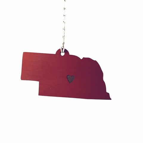 Laser-engraved Nebraska Heart Ornament - Large