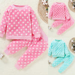 Children Pajamas 2pcs Long Sleeve Flannel Kids Sleepwear Baby Girl