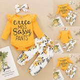 Baby Girl Clothes Newborn Infant Girls 3PCs Long Sleeve Frilly Romper