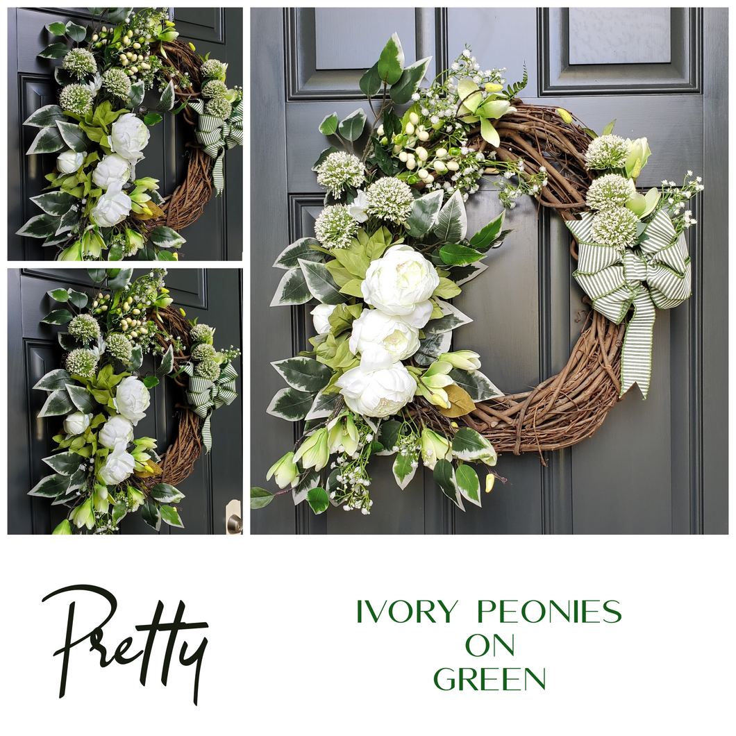 Ivory on Green Wreath