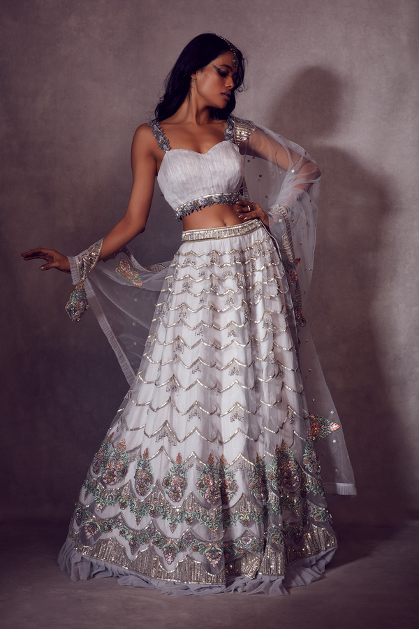 Harbor Gray Bustier paired with Ruffled-edge Ghaghra and Dupatta
