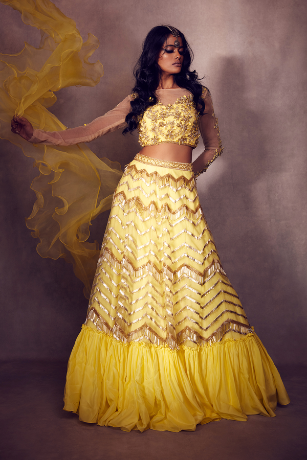 Lemon Yellow Off-shouldered Blouse paired with Frilled-edge Geometric Ghaghra and Dupatta