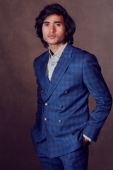 Oxford and Cobalt Blue Self-chequered Blazer with Slim Fit Pants