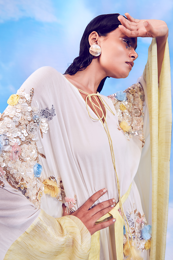 Whisper White and Soft Yellow Kaftan and Belt and Slip