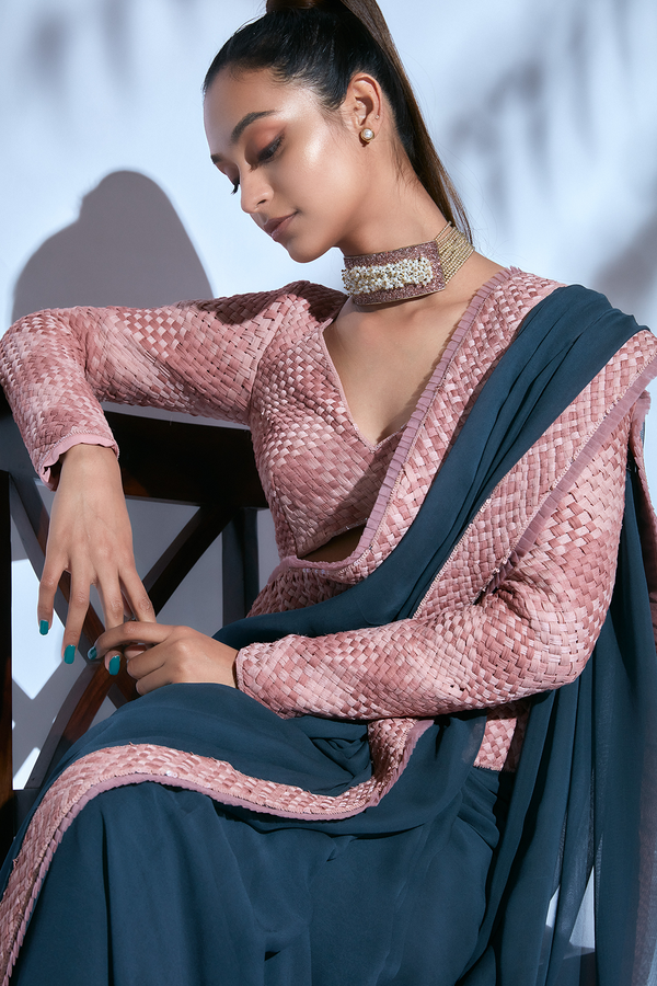 Teal Hand-embroidered Sari paired with Pink Hand-embroidered Blouse