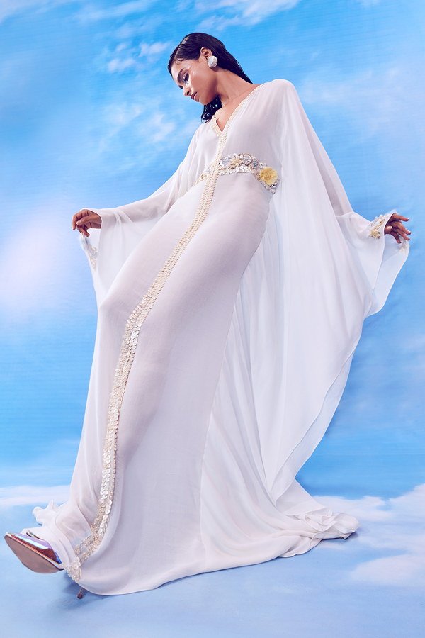 Whisper White Kaftan and White Slip