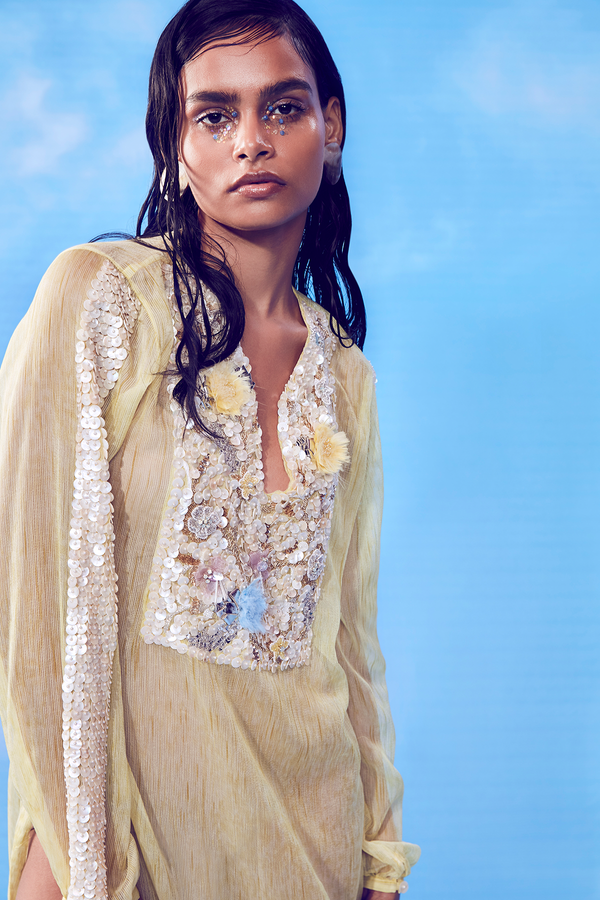 Soft Yellow Space-dyed Sheer Kaftan and Yellow Slip