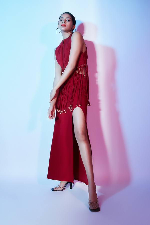 Beetroot Skirt with a Slit