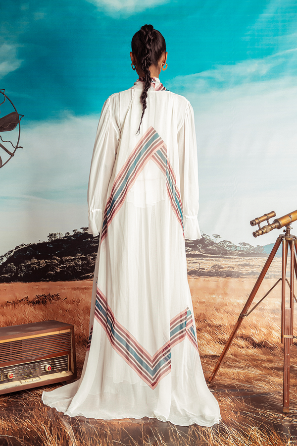 Off-white Georgette Maxi with Frills