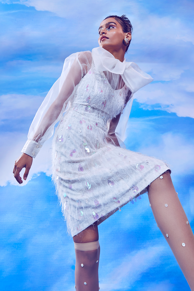 Whisper White A-line Feather Dress