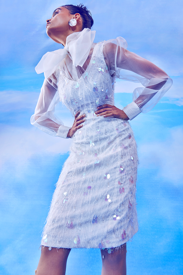 Whisper White A-line Feather Dress with White Tying Collar Sheer Top Set