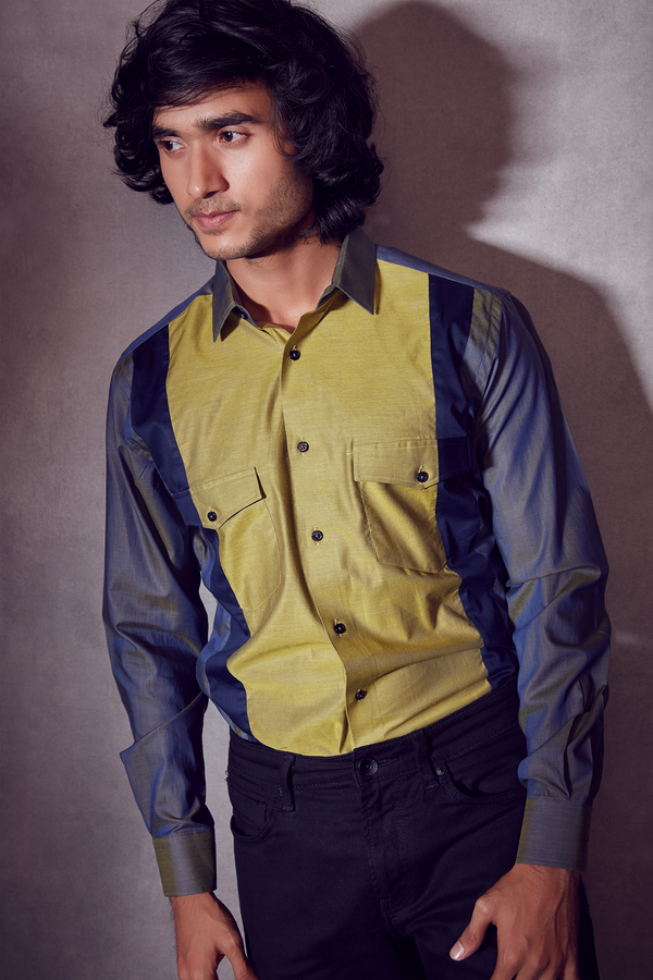 Shining Oxford Blue and Front Mustard Yellow Shirt