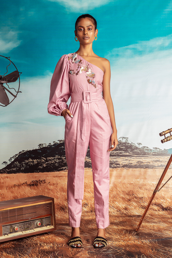 One-shouldered Dust Pink Printed Cotton Jumpsuit and Belt
