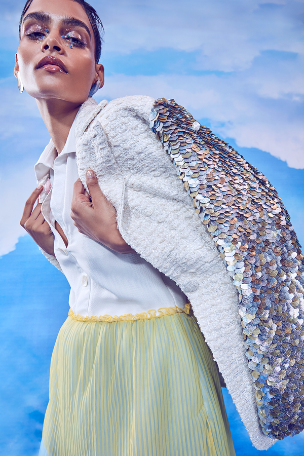 3-toned Pleated Midi paired with Fish-scale Sequined Long Jacket Set